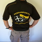 Perranporth SLSC senior sports top - back with club logo