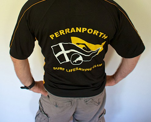 Perranporth SLSC senior sports top - back with club logo